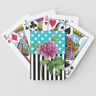 Artsy Peony Blue Bicycle Playing Cards