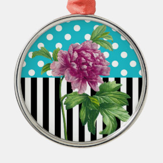 Artsy Peony Blue Silver-Colored Round Ornament