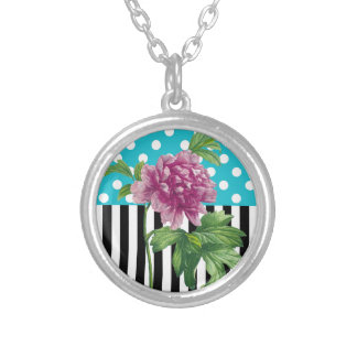 Artsy Peony Blue Silver Plated Necklace