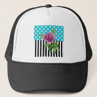 Artsy Peony Blue Trucker Hat