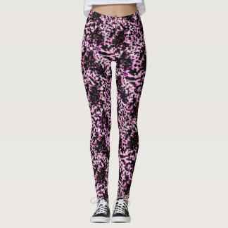 Artsy Pink and Black Speckled Jogging, Yoga Leggings