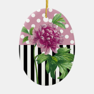Artsy Pink Peony Ceramic Ornament