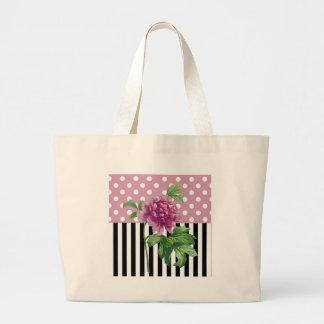 Artsy Pink Peony Large Tote Bag