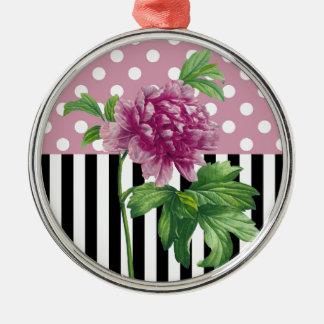 Artsy Pink Peony Metal Ornament