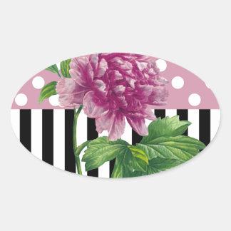 Artsy Pink Peony Oval Sticker