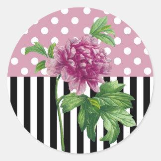 Artsy Pink Peony Round Sticker