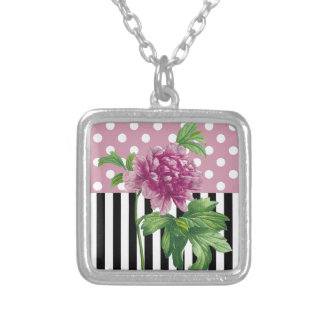 Artsy Pink Peony Silver Plated Necklace