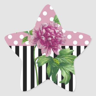 Artsy Pink Peony Star Sticker