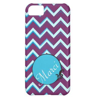 Artsy Purple Blue Chevron w/ Custom Color Scheme iPhone 5C Cases