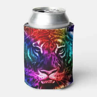 Artsy Rainbow Tiger Can Cooler