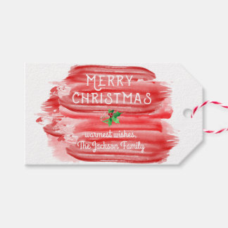 Artsy Red Watercolor Festive Christmas Holly Pack Of Gift Tags