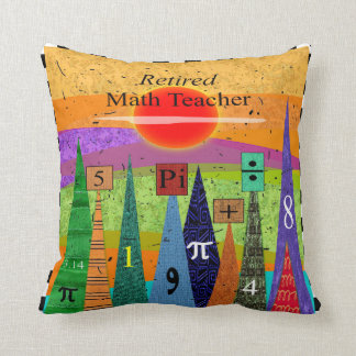 "Artsy Retired Math Teacher Pillow ""Numbers Forest"""