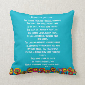 Artsy Retired Nurse Poem Pillow Nright Blue