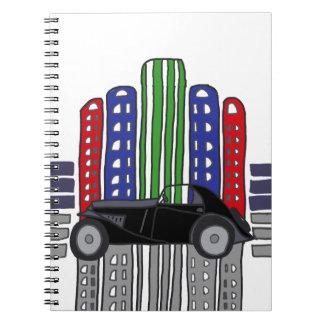 Artsy Retro Car and Buildings Notebook