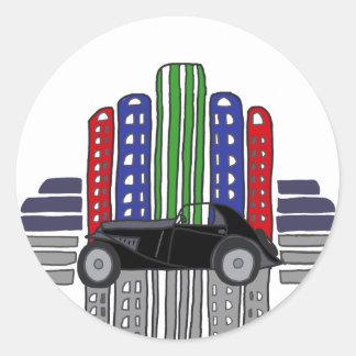 Artsy Retro Car and Buildings Round Sticker