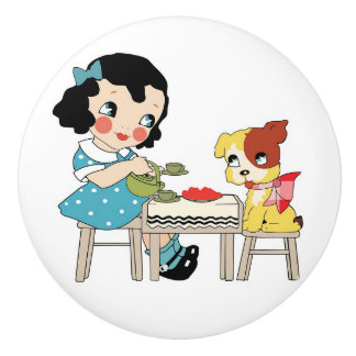 Artsy Retro Cartoon Girl and Dog Knob