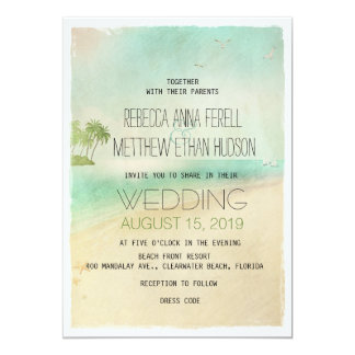 Artsy Retro Vintage Peaceful Beach Wedding Invites