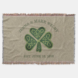 Artsy Shamrock Irish Wedding Gift Personalized Throw Blanket