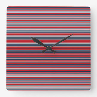 Artsy Stripes in Patriotic Red White and Blue Wall Clock