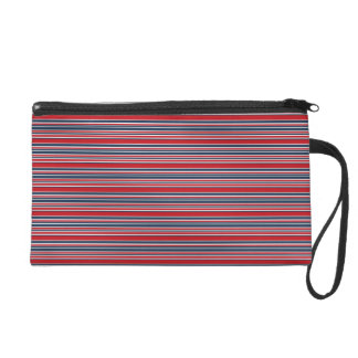Artsy Stripes in Patriotic Red White and Blue Wristlet