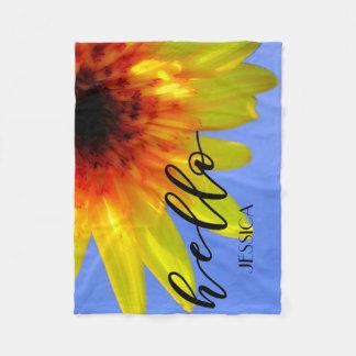 Artsy Sunflower Bold Bright Hello Sunshine Custom Fleece Blanket