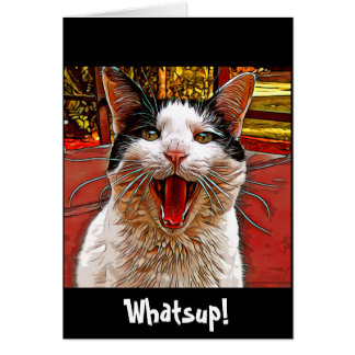 Artsy Talking Cat Mouth Wide Funny Humor Card