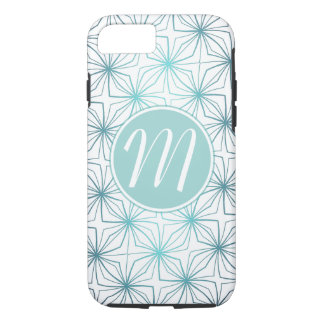 Artsy Teal Monogram Vintage Pattern Case-Mate iPhone Case
