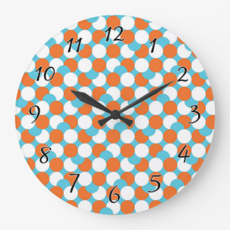 Artsy Teal & Orange Circles Large Clock