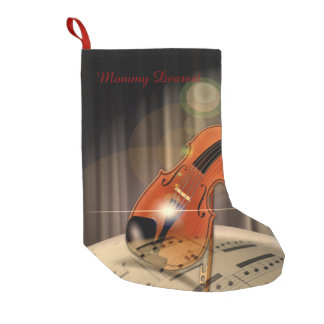 Artsy Violin Music Small Christmas Stocking