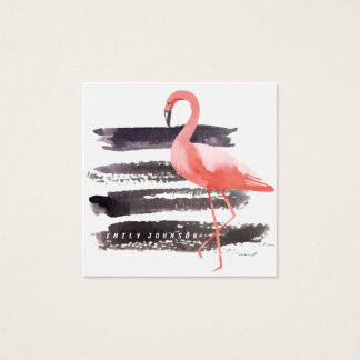 Artsy Watercolor Flamingo Brush Strokes Lines Square Business Card