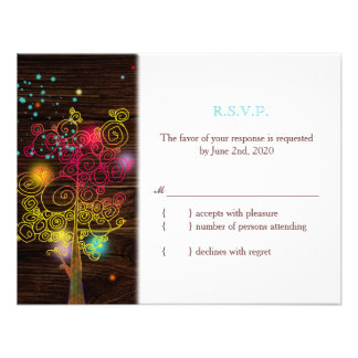 Artsy Whimsical Country Wedding RSVP 4 25x5 5 Personalized Invites