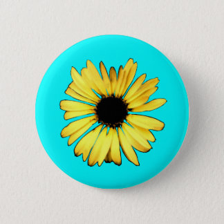 Artsy Yellow Gerbera Daisy 2 Inch Round Button