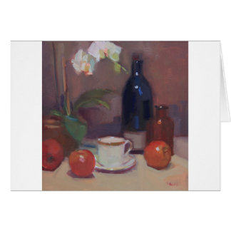 Artwork of Orchids and Bottles with Demitasse Cup Card