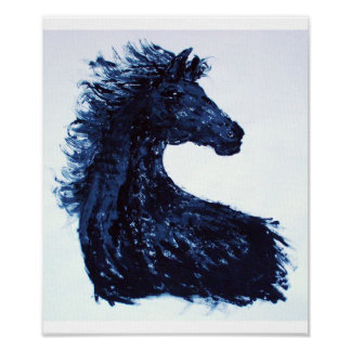 Arty Black Horse Poster