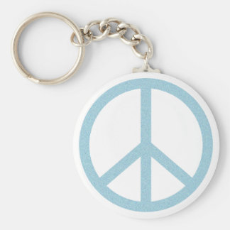 Arty Blue Peace Symbol Basic Round Button Keychain