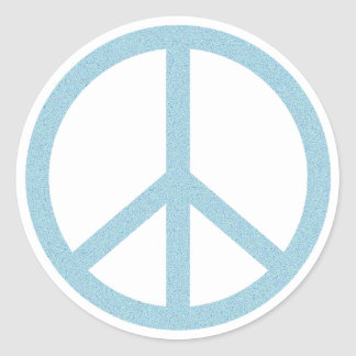 Arty Blue Peace Symbol Classic Round Sticker