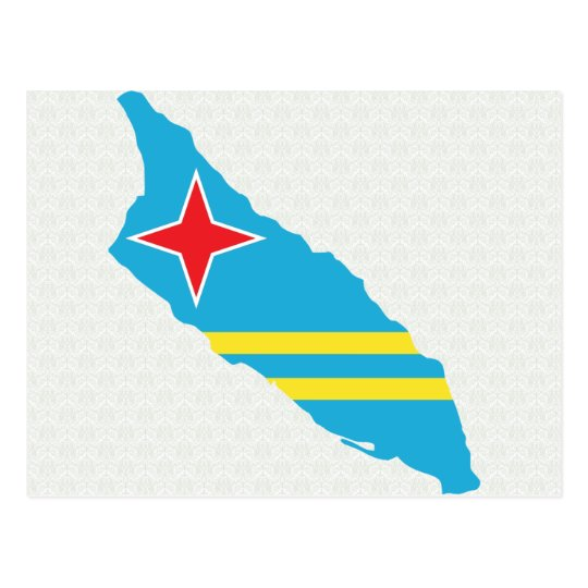 Aruba Flag Map full size Postcard