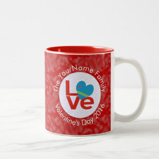 Aruba LOVE White on Red Two-Tone Coffee Mug