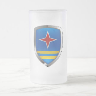 Aruba Mettalic Emblem Frosted Glass Beer Mug
