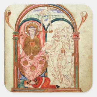 Arundel 155 f.133 Monks of Christchurch, Canterbur Square Sticker