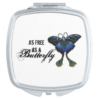 As free as a Butterfly Peacock Butterbird Feelings Vanity Mirrors