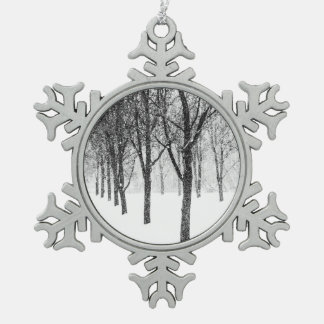as I side with trees Snowflake Pewter Christmas Ornament
