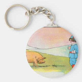 As I went to Bonner, I met a pig Basic Round Button Keychain
