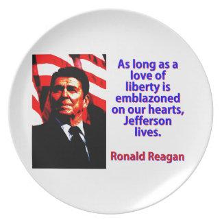 As Long As A Love Of Liberty - Ronald Reagan Plate