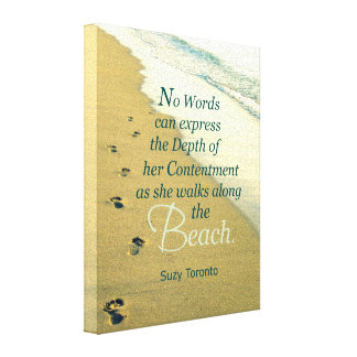 AS SHE WALKS ALONG THE BEACH CANVAS PRINT