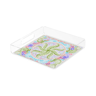 As Spring blooms , Kawaii, spring, flowers Acrylic Tray