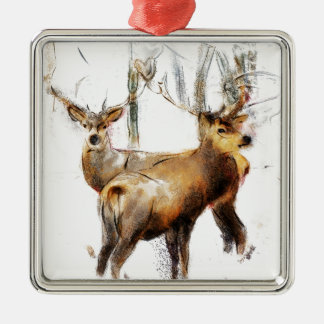 as the cold winds blow Silver-Colored square ornament