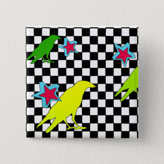 """As the crow flies"" 2 Inch Square Button"