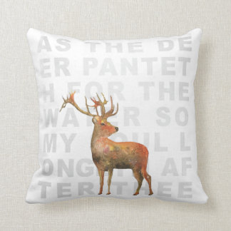 As the Deer Hymn Watercolor Deer Scripture Pillow