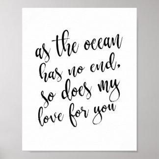 As The Ocean Has No End Beach Wedding 8x10 Sign